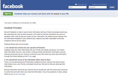 Facebook Private Policy page